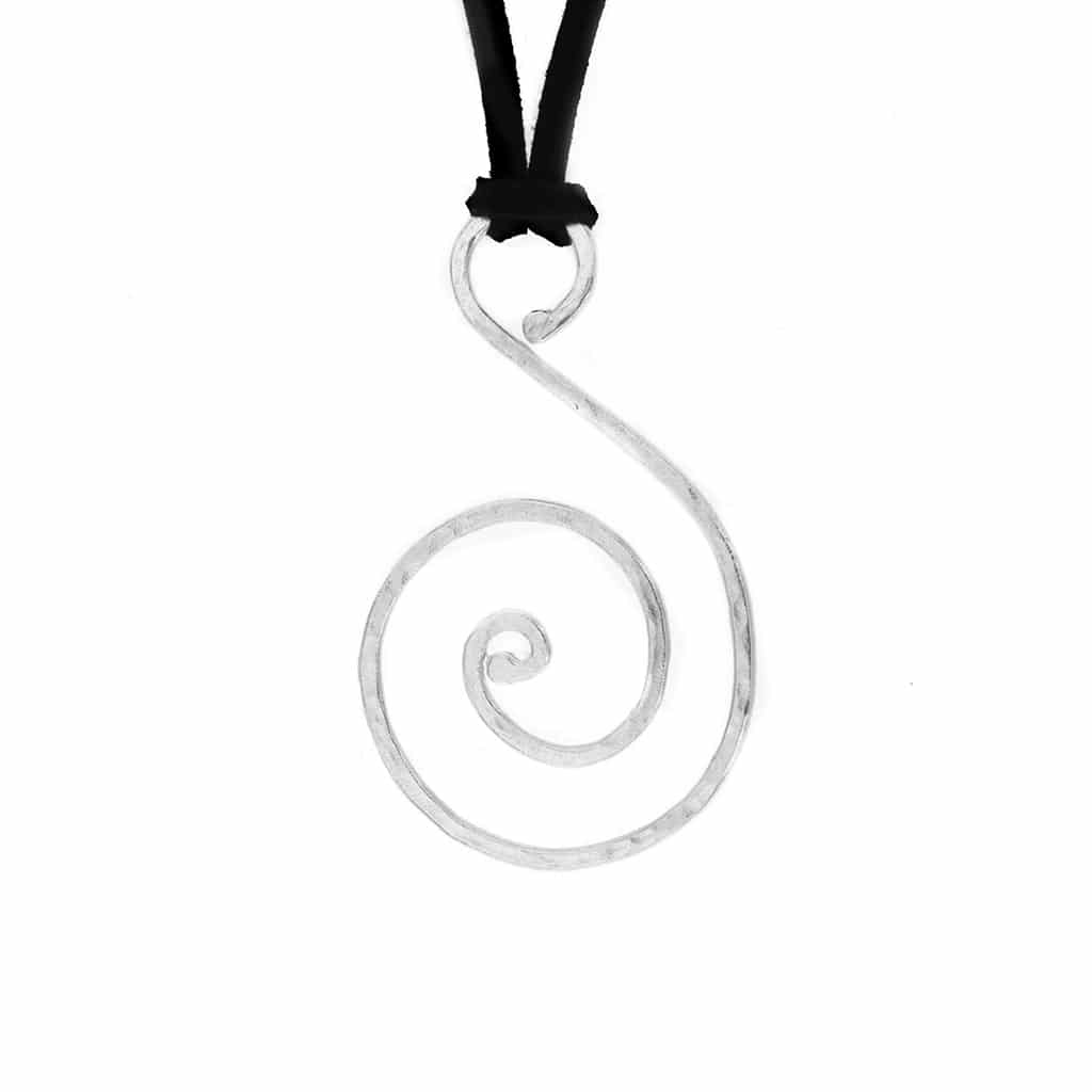 Swirl Silver Pendant on an Suede Cord
