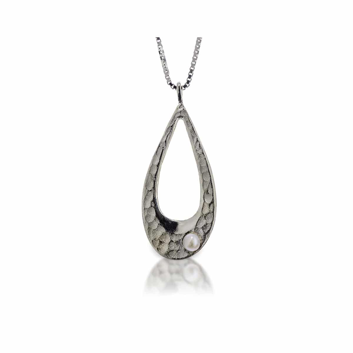 Pearl Drop Pendant Silver Necklace