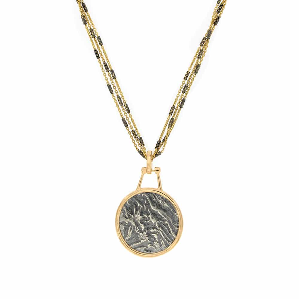 Ancient Coin gold plated Necklace on silver chain