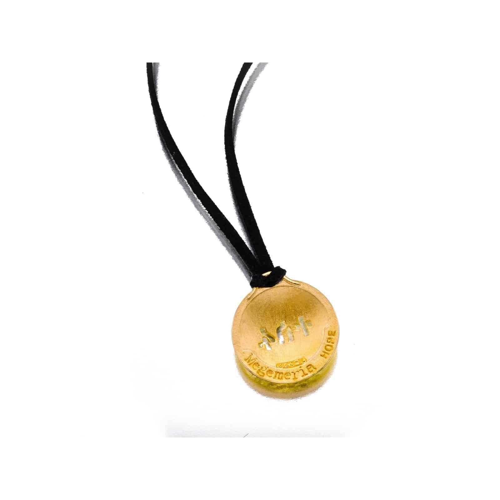 Colgante Aro de Oro con Cordón de Gamuza