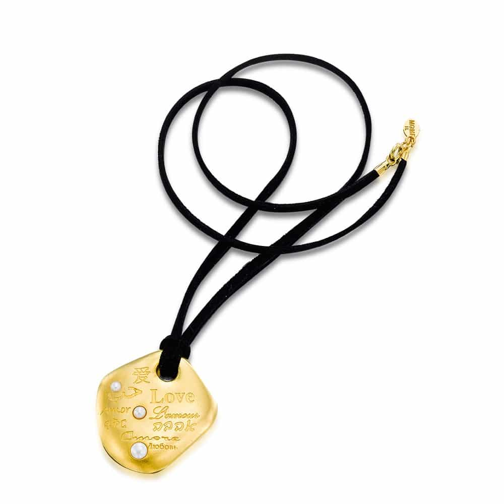 INTERNATIONAL LOVE gold plated Pendant with natural pearls on a suede cord