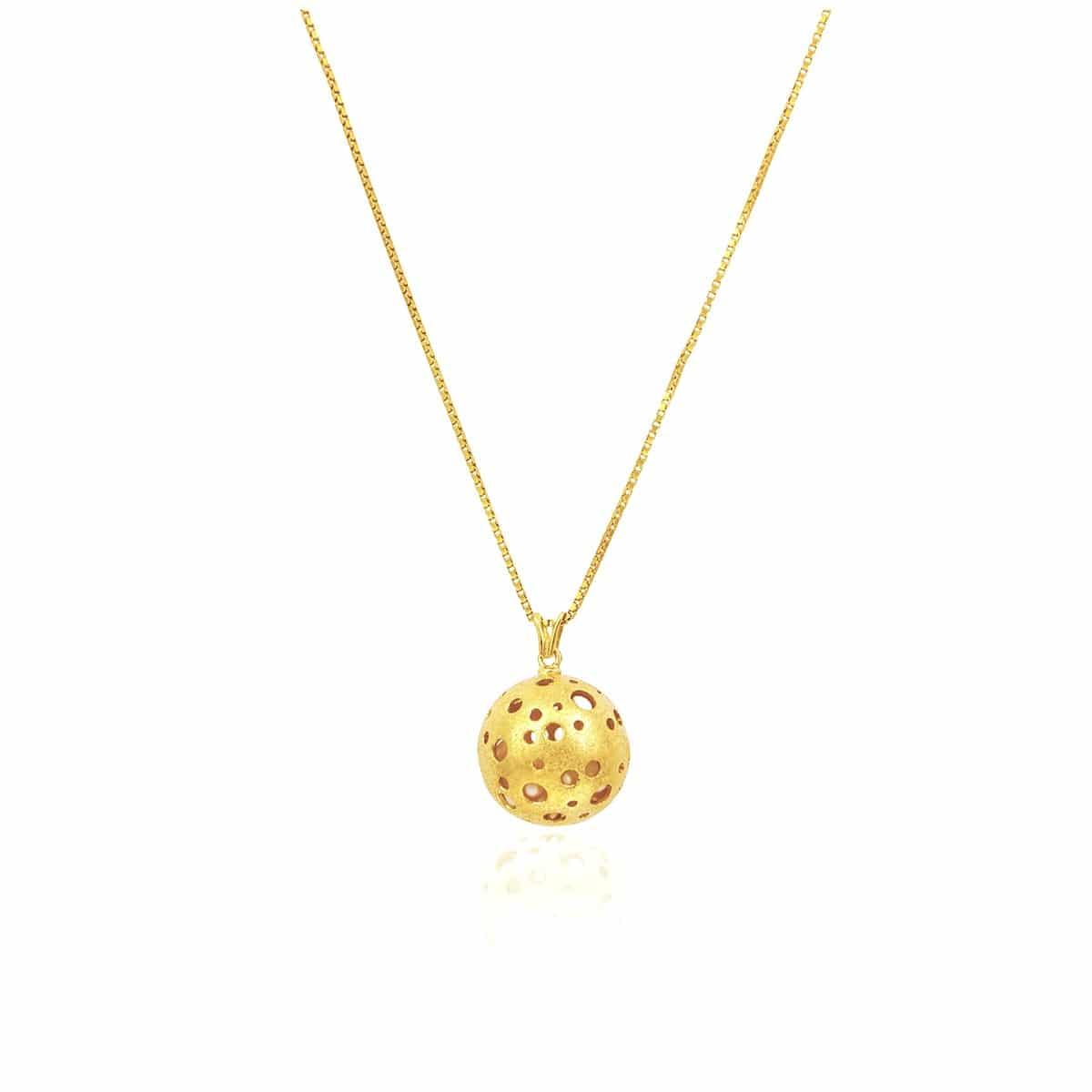 Collar Bolita de Plata Chapado en Oro
