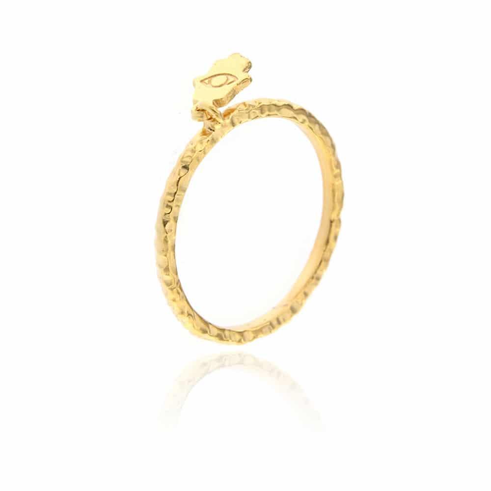 Hamsa Gold Plated Silver Ring