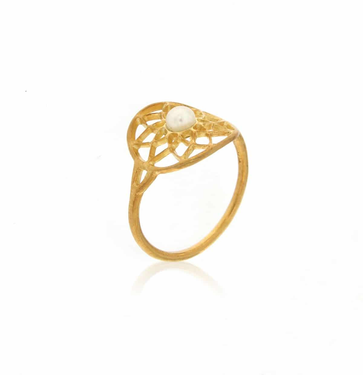 Mandala gold plated silver Ring with a natural white pearl