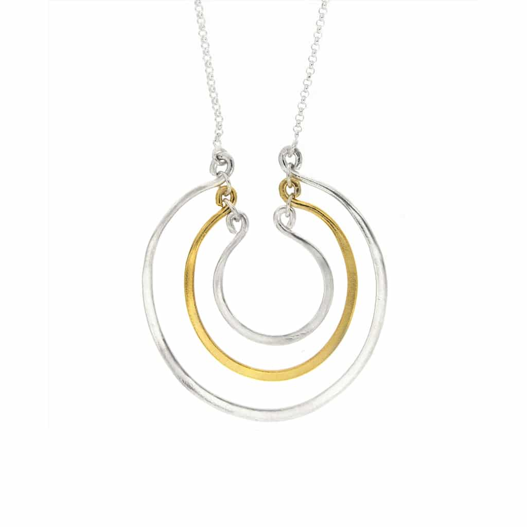 Collar Anillo de Plata Chapado en Oro