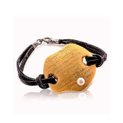 SHEMA YISREL gold plated Bracelet with a natural pearl on a treated leather