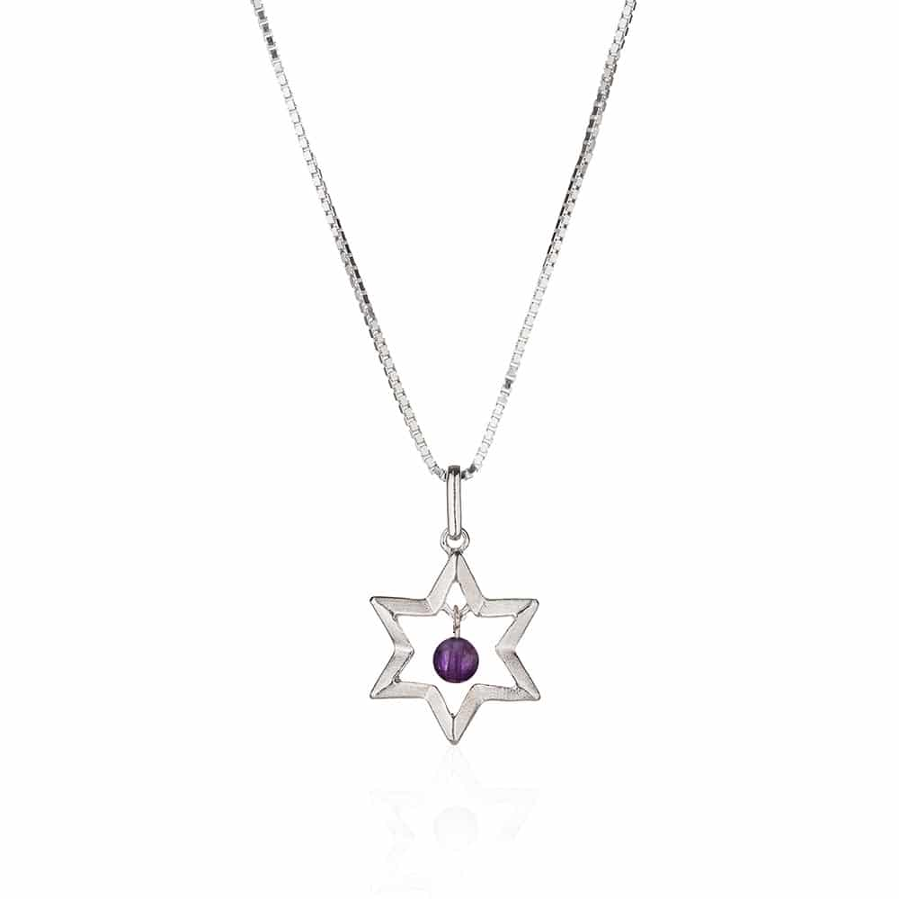 Star Of David Silver & Amethyst Necklace