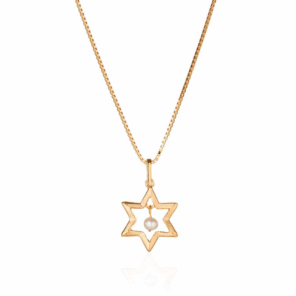 Star Of David Gold Plated Silver & Pearl Necklace