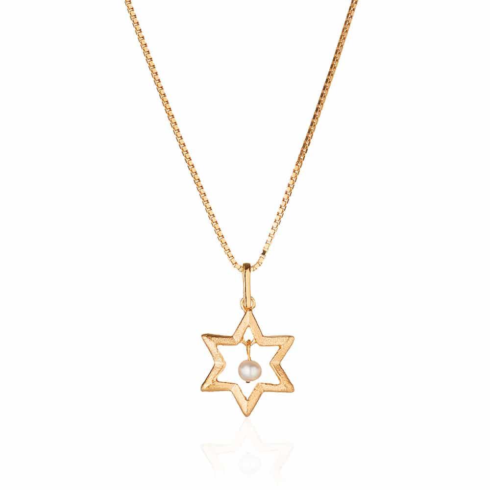 Collar de Plata y Perlas Chapada en Oro Estrella de David