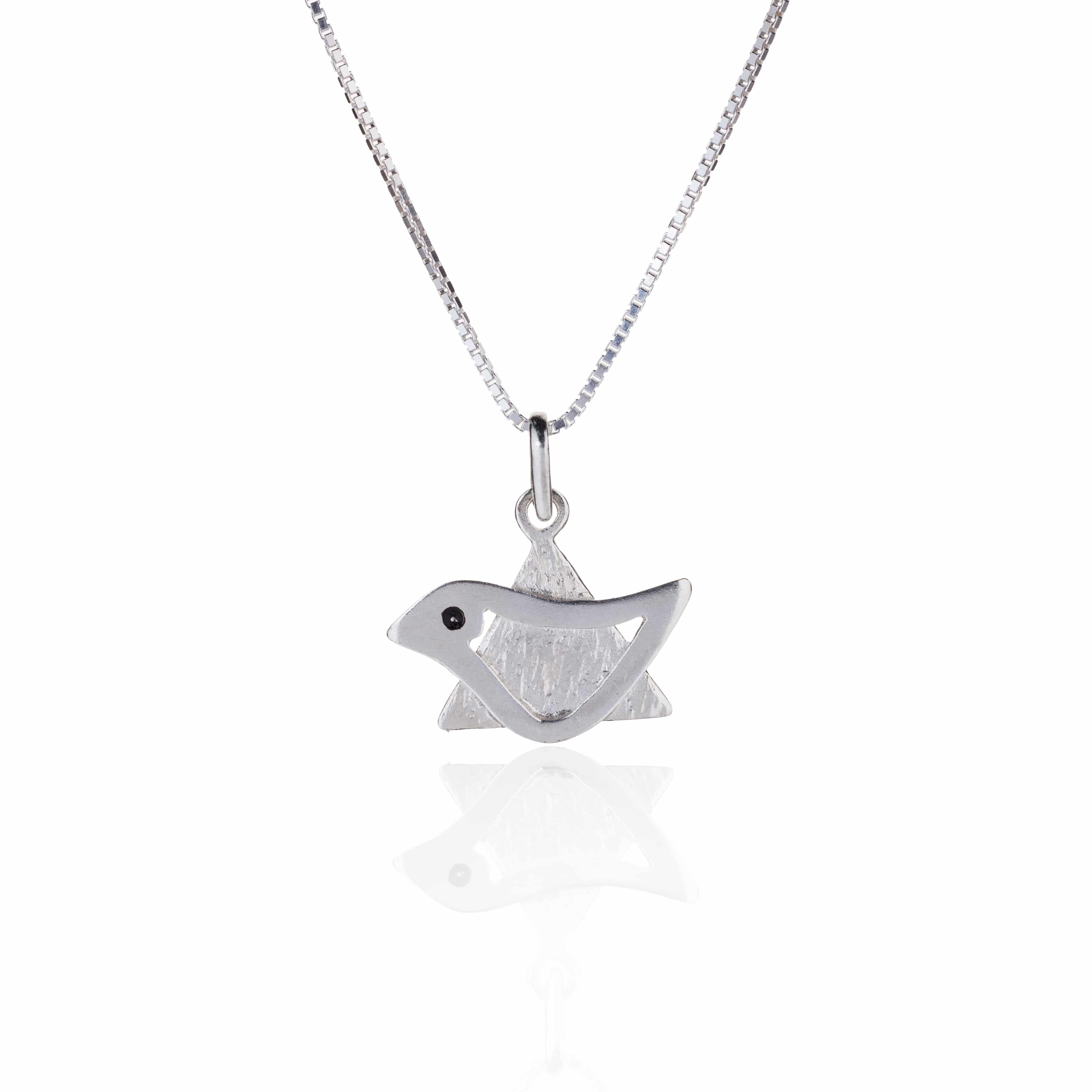Silver Star of David Dove - Peace Dove Necklace