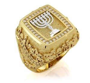 14k Gold 3D Jerusalem Ring with Diamonds