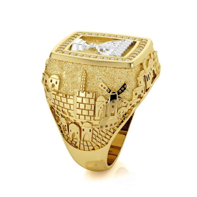 14k Gold 3D Jerusalem Ring with Diamonds