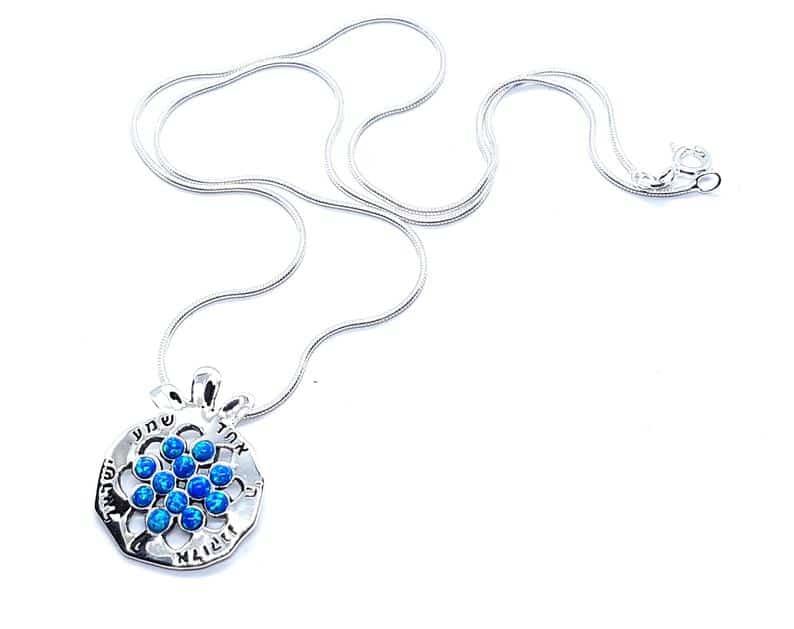 Collar de granada de plata 925 con piedras de ópalo - Shema Israel