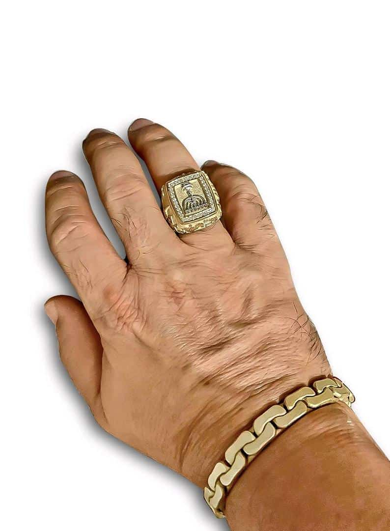 Christmas Sale 15% Men Ring ,14k Gold 3D Jerusalem Ring,Jewish Ring ,Jewish Ring ,Diamonds Ring Judaica Ring Menorah Ring