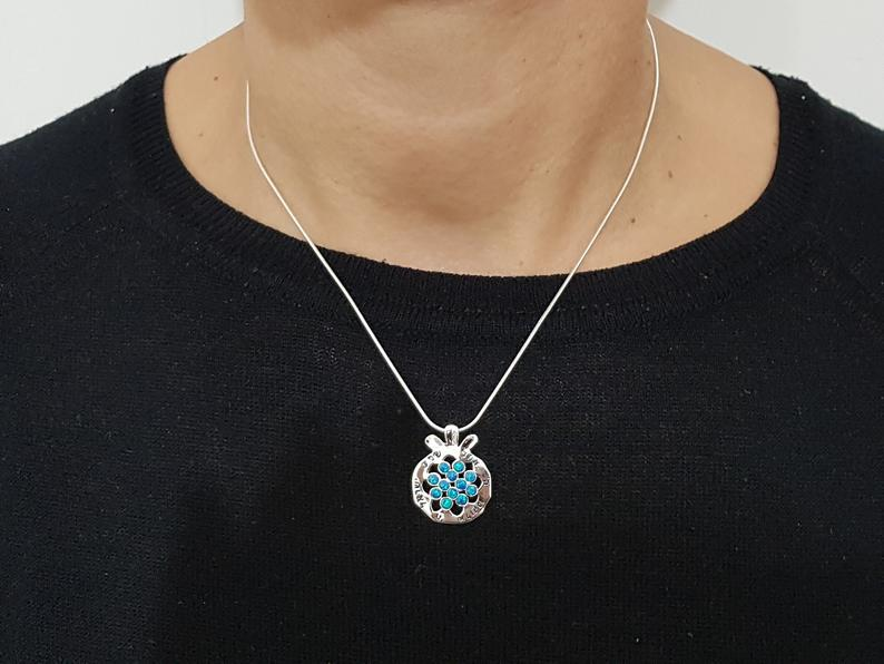 925 Silver Pomegranate Necklace  with Opal Stones - Shema Israel