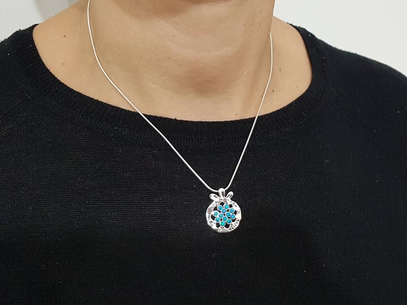 925 Silver Pomegranate Judaica Pendant Necklace Set with Opal Stones ,Shema Israel Pendant