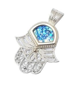 Silver Roman Glass Hamsa Pendant