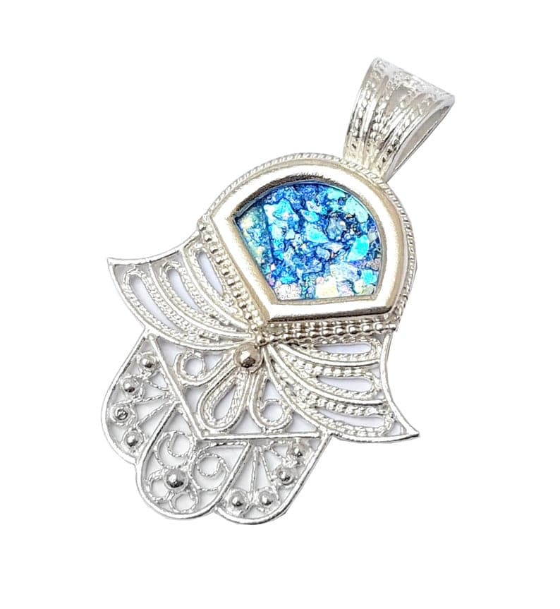 925 Sterling Silver Yemenite Filigree Roman Glass Hamsa Pendant