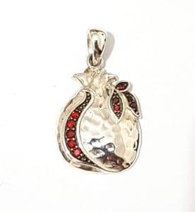 925 SIlver Pomegranate Pendant with Red Garnets Stones