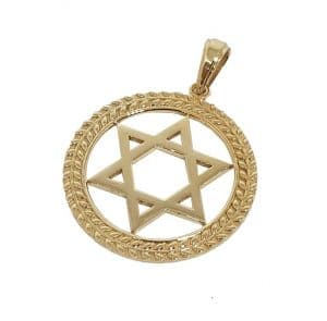 14k Gold Star of David Pendant 2