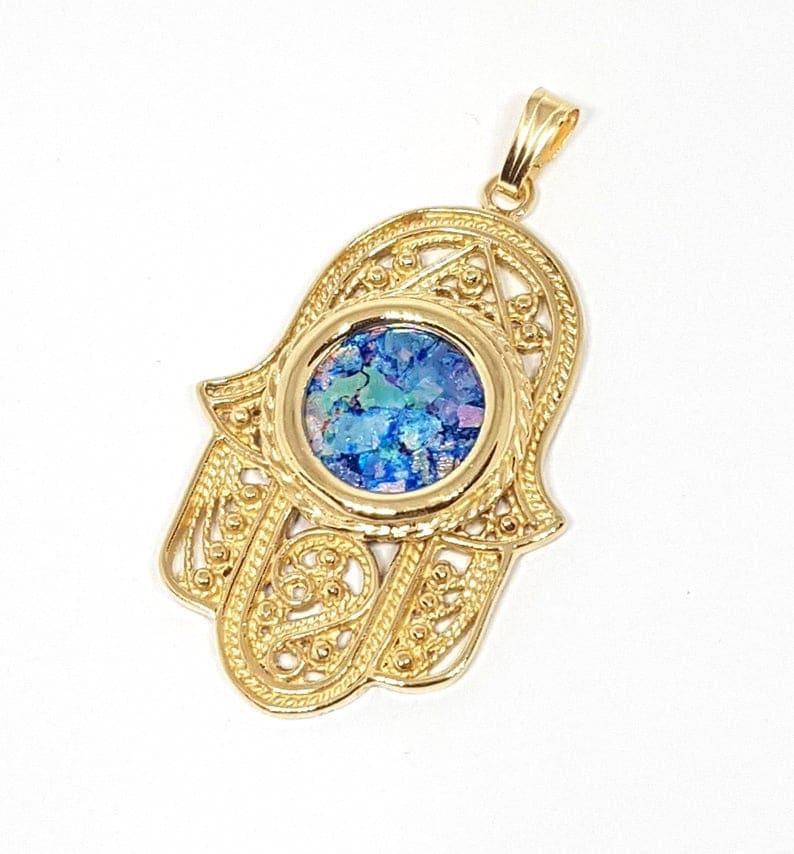 14k Gold Roman Glass Yemenite Filigree Hamsa Pendant Necklace,14k Gold Hamsa Chamsa Pendant