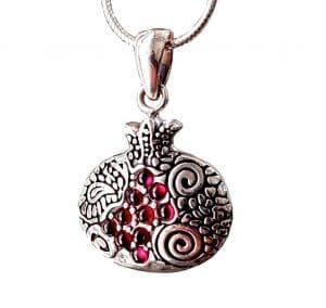 Collar de Granada de Plata 925 Engastado con Piedras de Granate Rojo