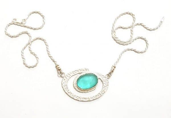 Silver Hammered Spiral Roman Glass Necklace