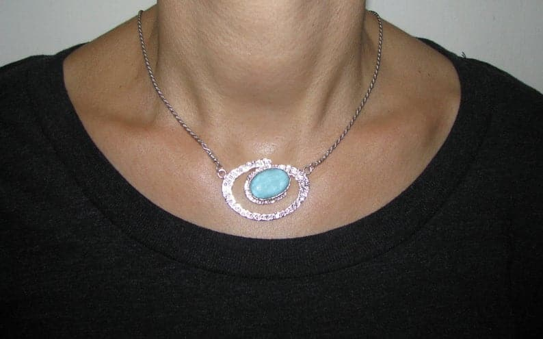Hammered Spiral Roman Glass 925 Silver Pendant Necklace
