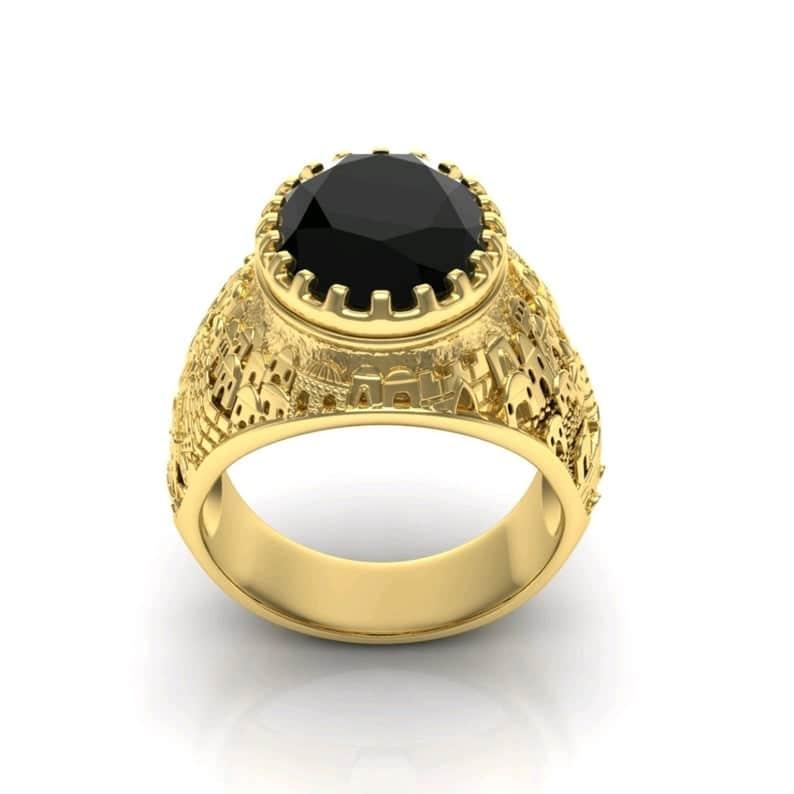 14k Gold 3D Jerusalem Ring Black Onyx, Jewish Ring for Men
