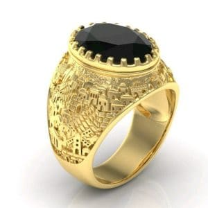 14k Gold 3D Jerusalem Ring Black Onyx, Jewish Ring for Men