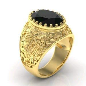 14k Gold 3D Jerusalem Ring Black Onyx, Men Ring, Jewish Ring, Ring for Men