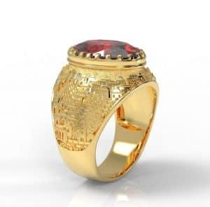 Anillo de Jerusalém 3D de Oro Amarillo de 14k, Anillo de Hombre, Piedra Granate, Anillo de Corona, Anillo Unisex