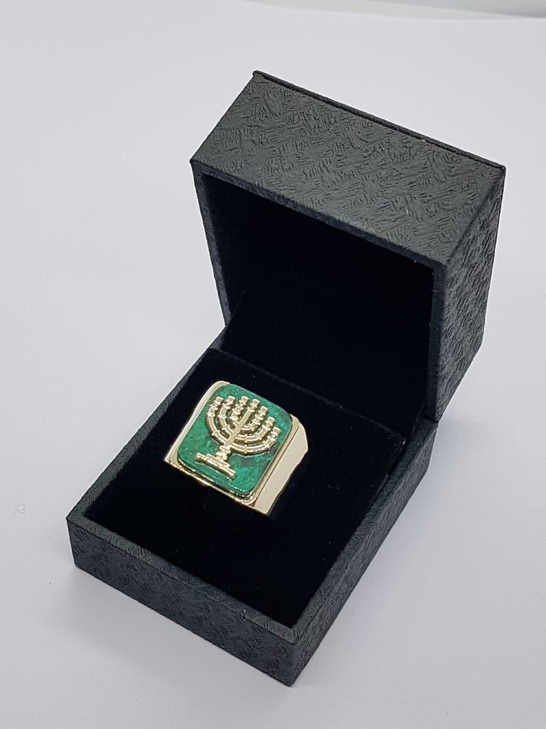 14k Gold Eilat Stone Menorha ring