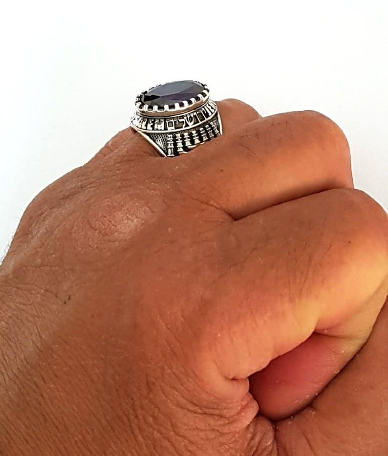 14k Gold Menorah Jerusalem Ring ,Men Ring,Menorah ring