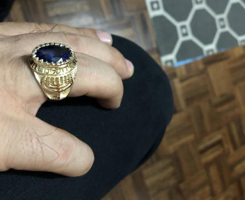 14k Gold Menorah Jerusalem with Corundum Sapphire Ring
