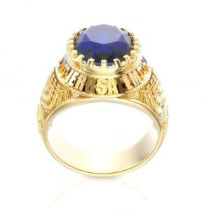 14k Gold Menorah Jerusalem with Corundum Sapphire Ring