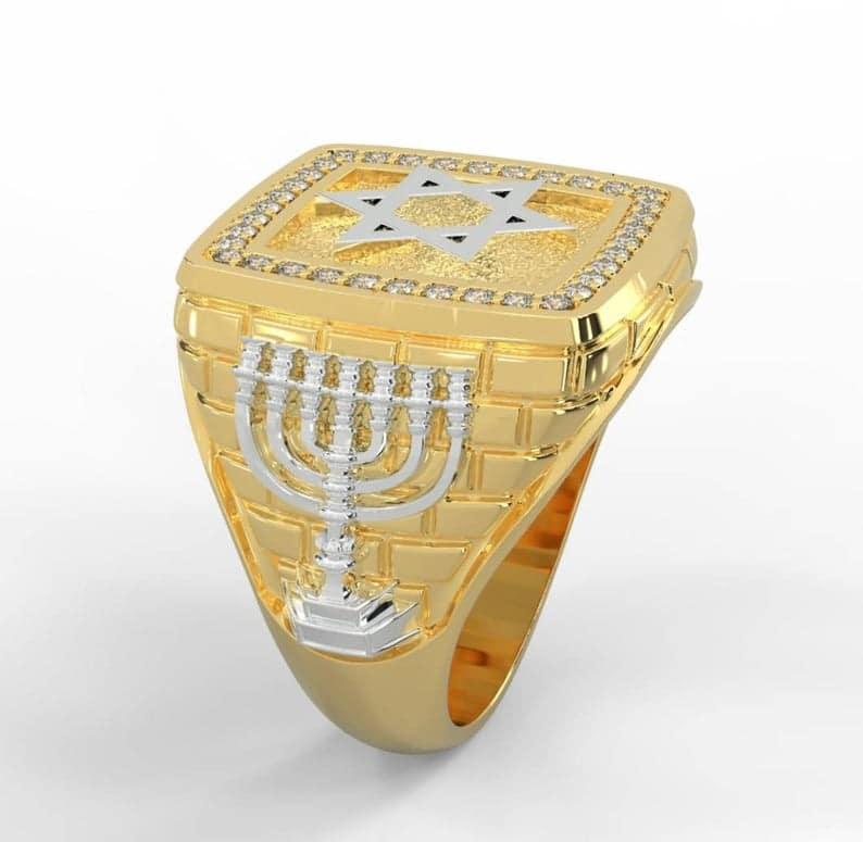 14k Gold Sapphire Blue Stones Star of David Ring - Men Ring