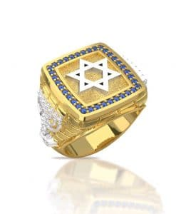 14k Gold Sapphire Blue Stones Star of David Ring - Men Ring