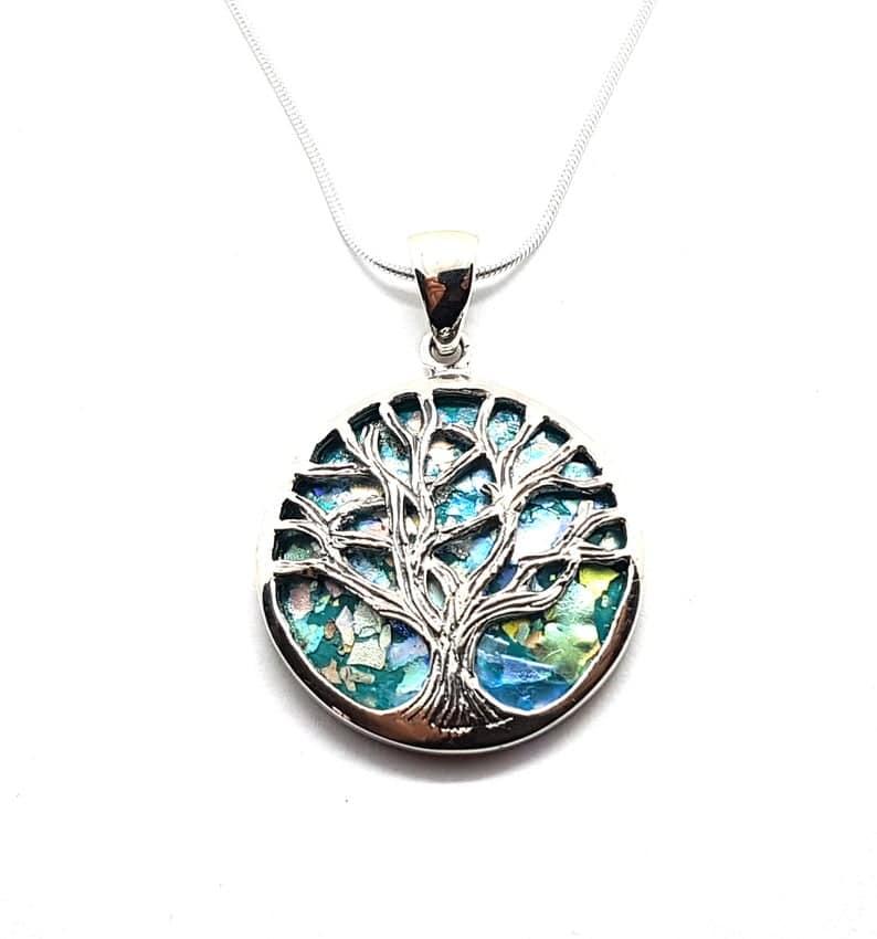 925 Silver Tree of Life Roman Glass Pendant Necklace, Silver Tree of Life necklace