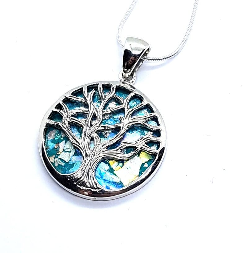 925 Silver Tree of Life Roman Glass Pendant Necklace, Silver Tree of Life necklace