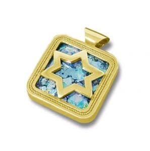 14K Gold Roman Glass Star of David Pendant Necklace