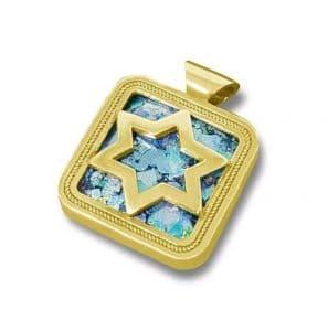 14K Gold Roman Glass Star of David Pendant Necklace