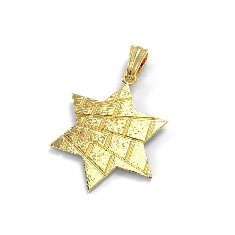 14K Solid Star of David Western Wall Pendant