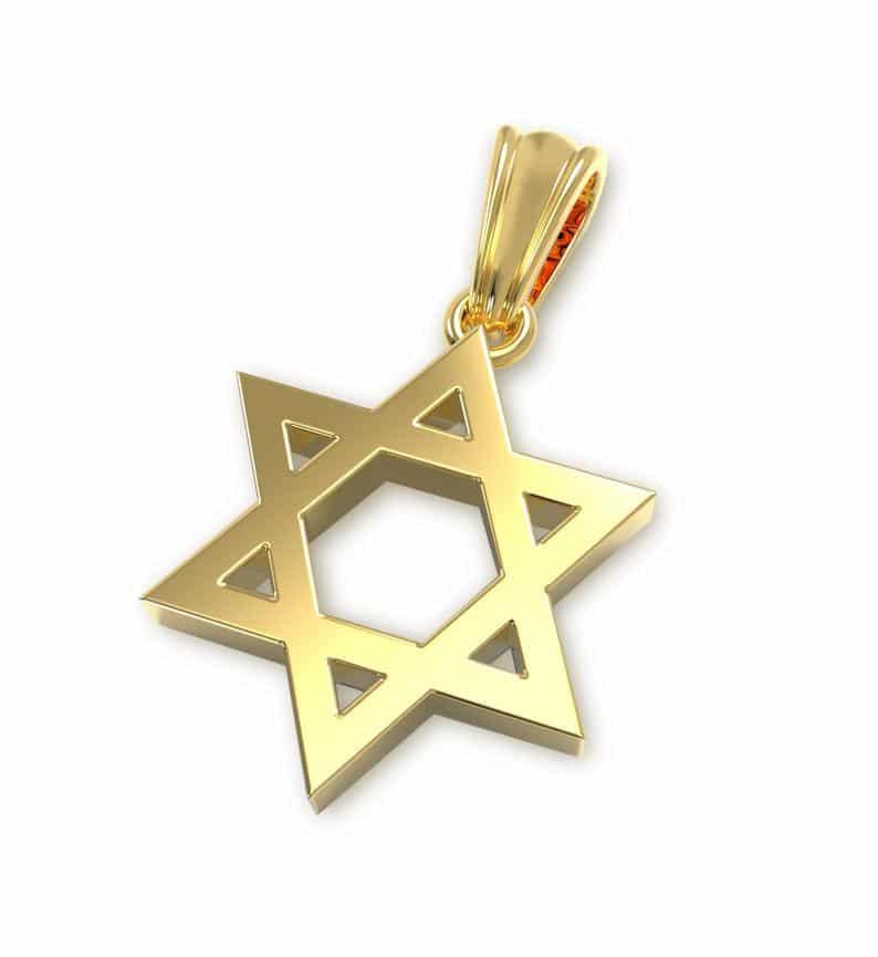 14K Star of David Pendant, Jewish Star Pendant, Western Wall Pendant, Bat Mitzvah Gift,Bar Mitzvah Pendant ,Jewish Jewelry
