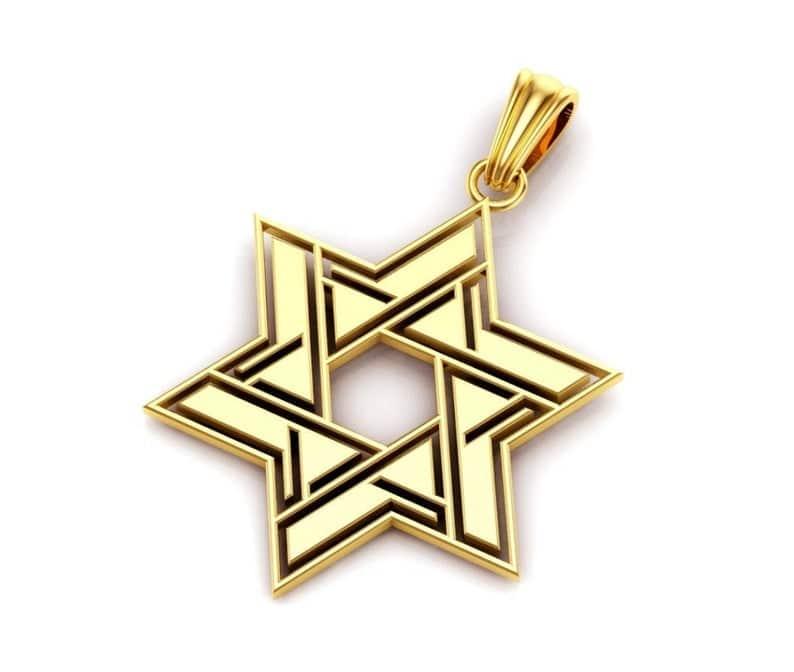 14K Gold Star of Modern Design Magen David Pendant