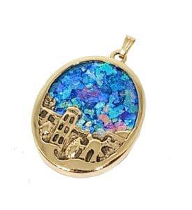 14k Gold 3D Jerusalem Roman Glass Pendant Necklace