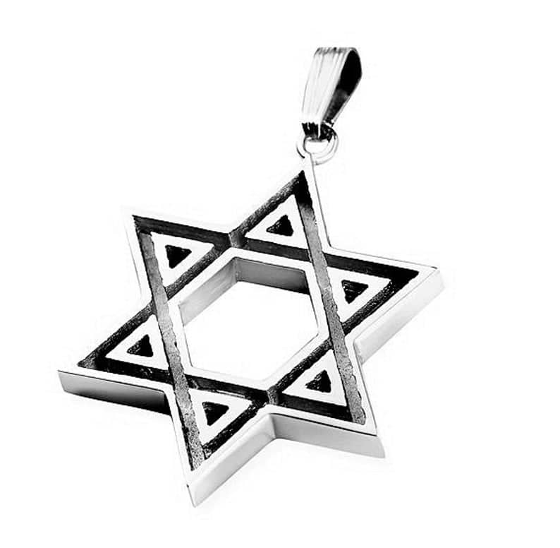 925 Silver Star of David Pendant Necklace for men - 2 sides