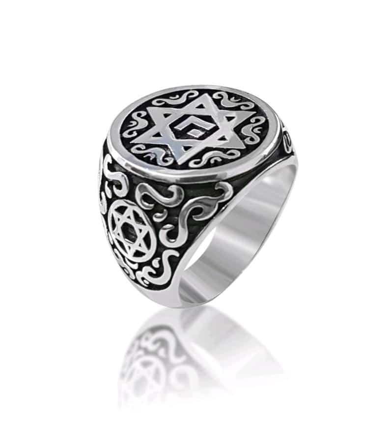 Sterling Silver Ornamented Star of David Ring Men Ring Women Ring