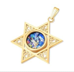 14K Gold Star of David Roman Glass Pendant