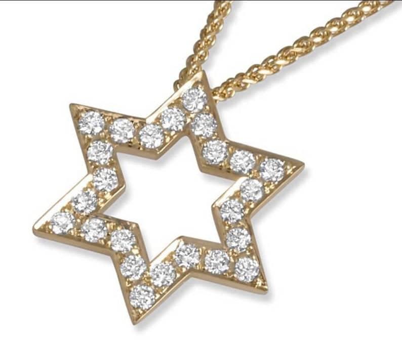 18K Yellow Gold Star of David Jerusalem Pendant set with Round Brilliant 0.25 Carat Diamonds